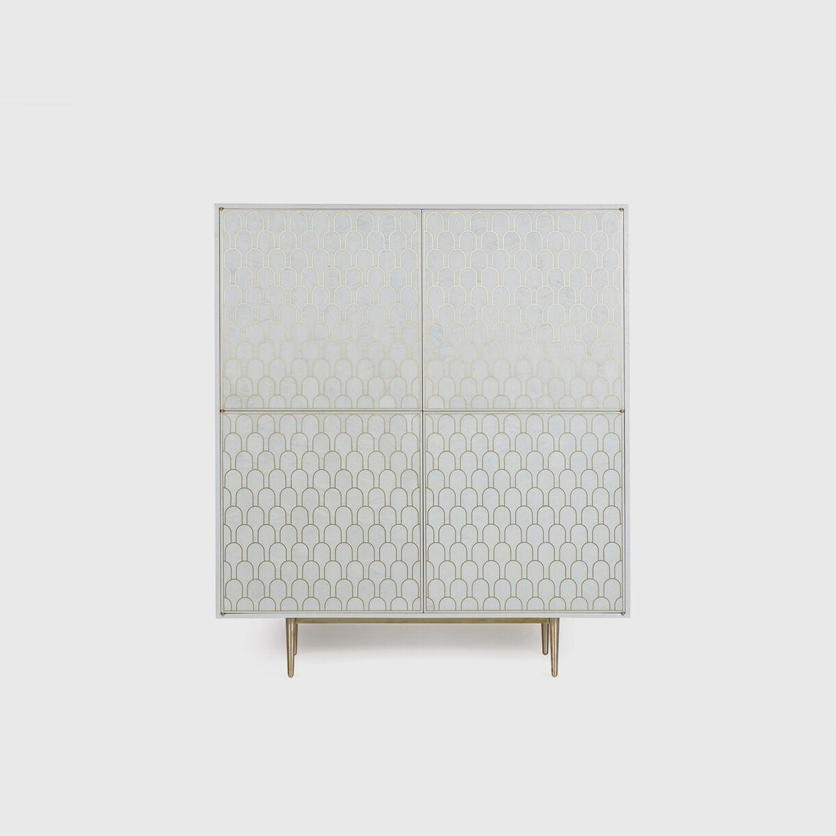 Nizwa 2 by 2-Door Cabinet, White & Brass