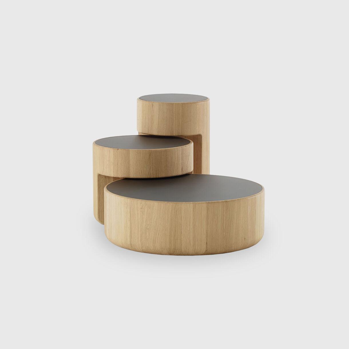 Levels Coffee Table, Oak & Black Glass