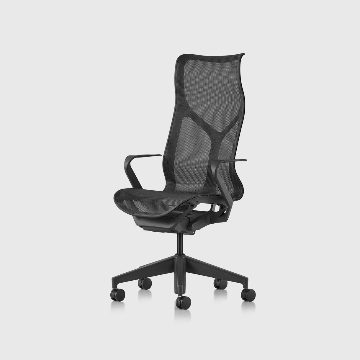 Cosm Work Chair, High Back, Fixed Arms, Graphite