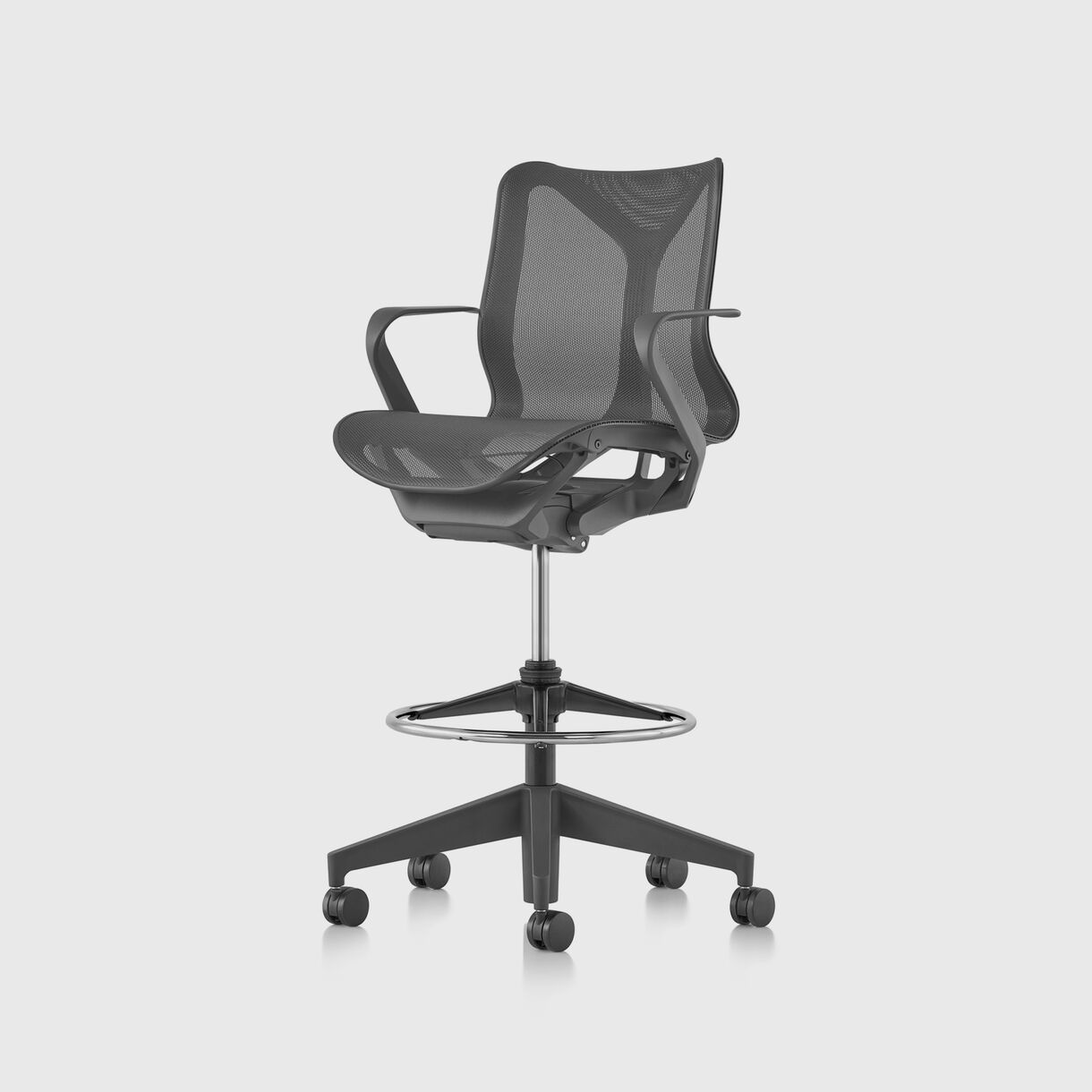 Cosm Work Stool - Low-Back, Graphite - Fixed Arms