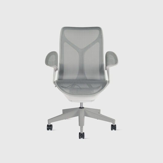 Cosm Chair, Mineral, Mid Back, Leaf Arms