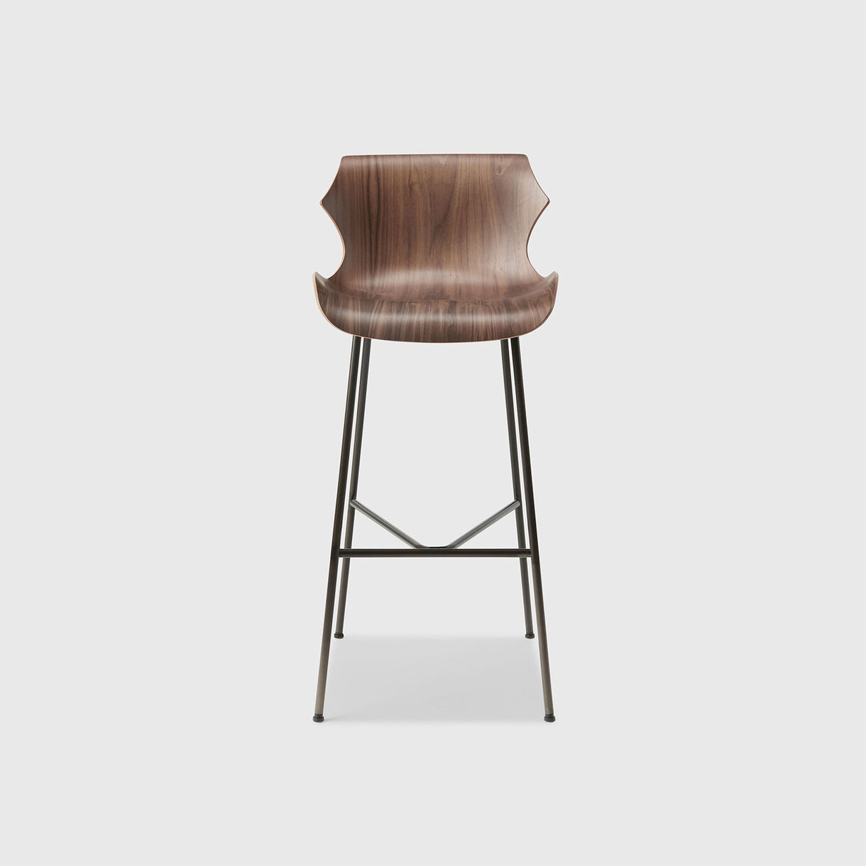 Petal Metal Base Bar Stool, Walnut