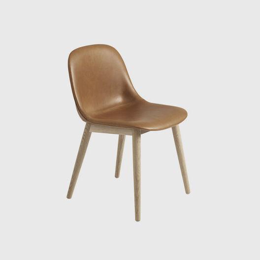 Fiber Side Chair, Wood Base, Upholstered