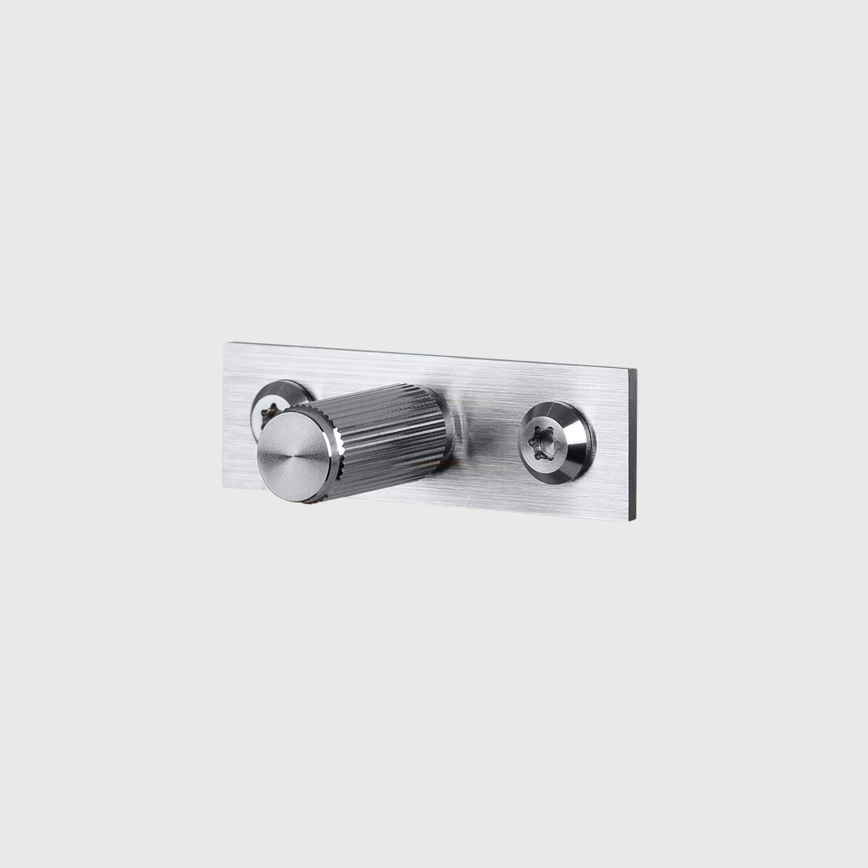 Furniture Knob with Plate, Linear, Steel