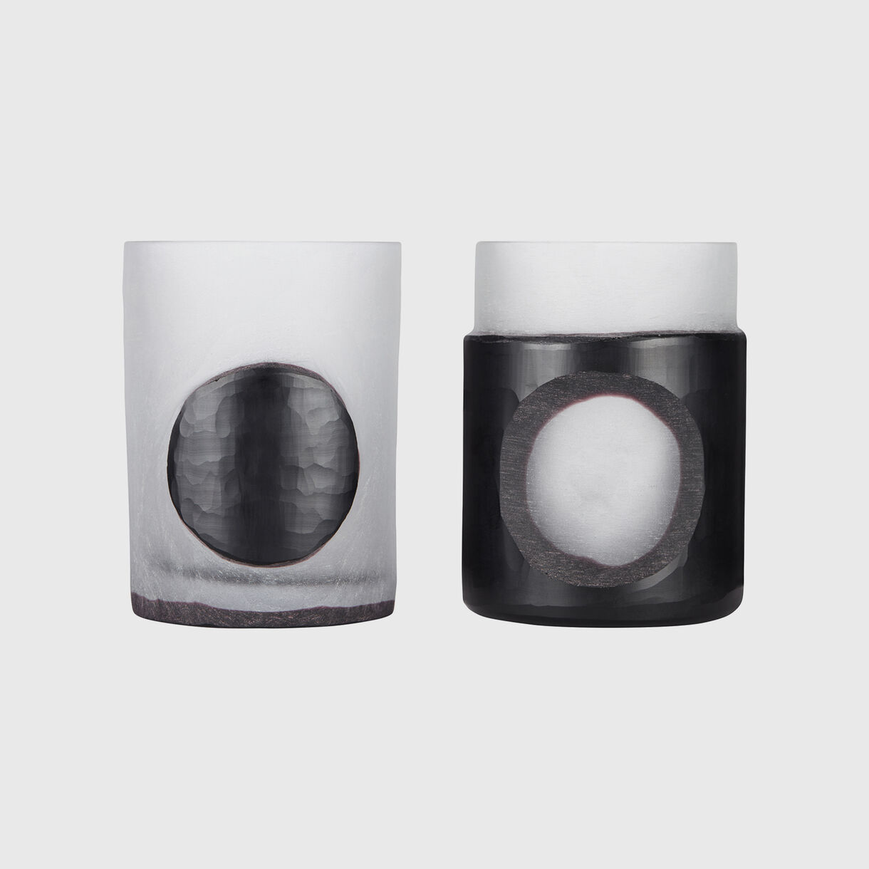 Carved Stem Vases, Black
