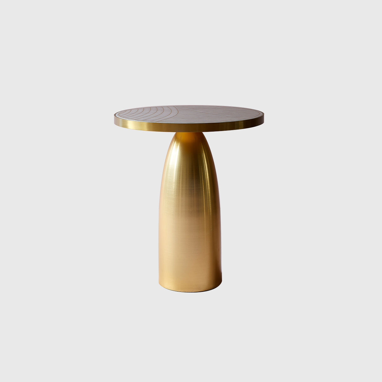 Lustre Side Table, Bianco Marble with Dhow Inlay