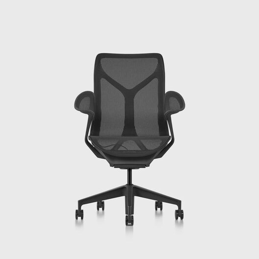 Cosm Chair, Graphite, Mid Back, Leaf Arms