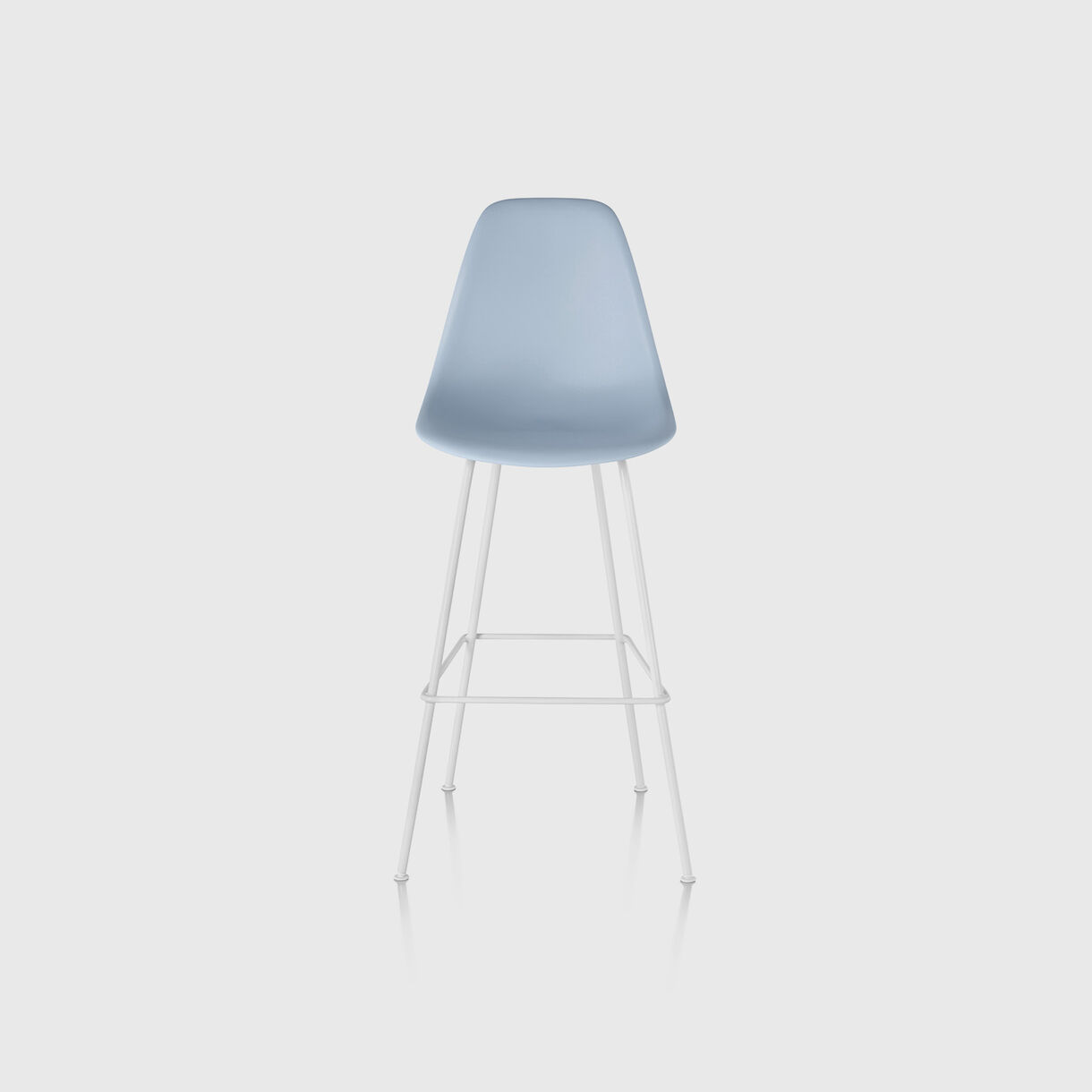 Eames Moulded Plastic Bar Stool, Alpine & White