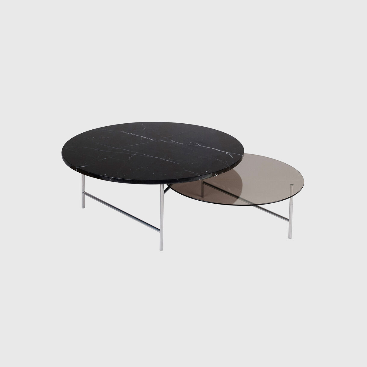 Zorro Coffee Table, Smoke Glass & Black Marble Top