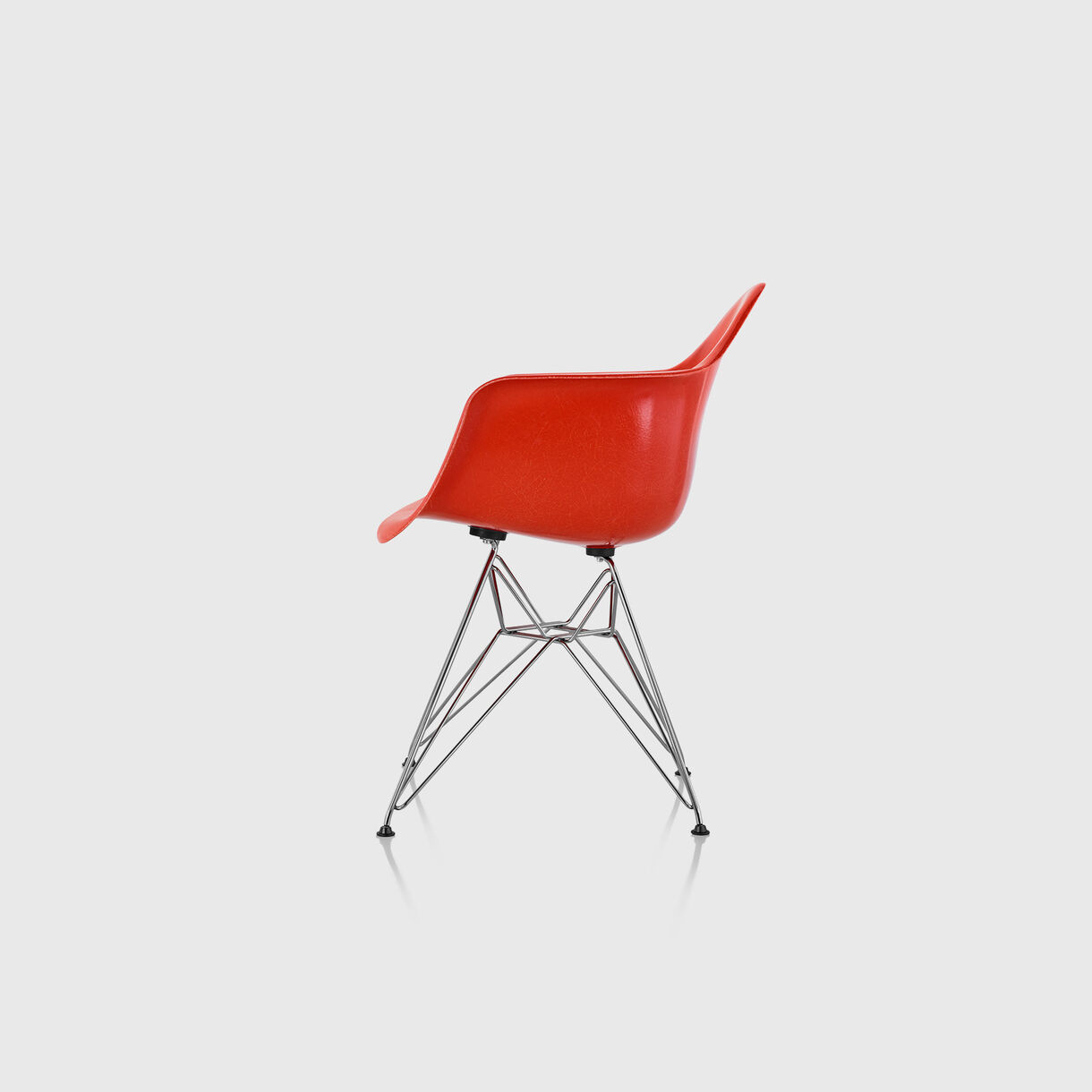 Eames Moulded Fibreglass Armchair, Red Orange & Chrome