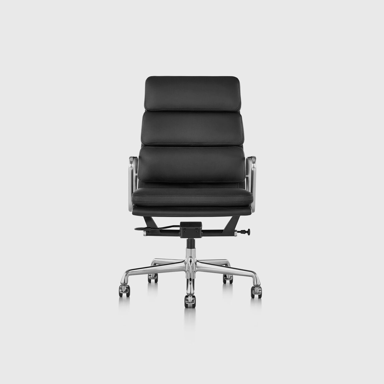Eames Soft Pad Group Executive Chair, Black Leather & Polished Aluminium