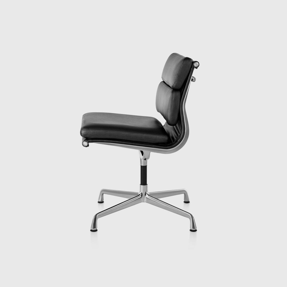 Eames Soft Pad Side Chair, Black Leather & Polished Aluminium