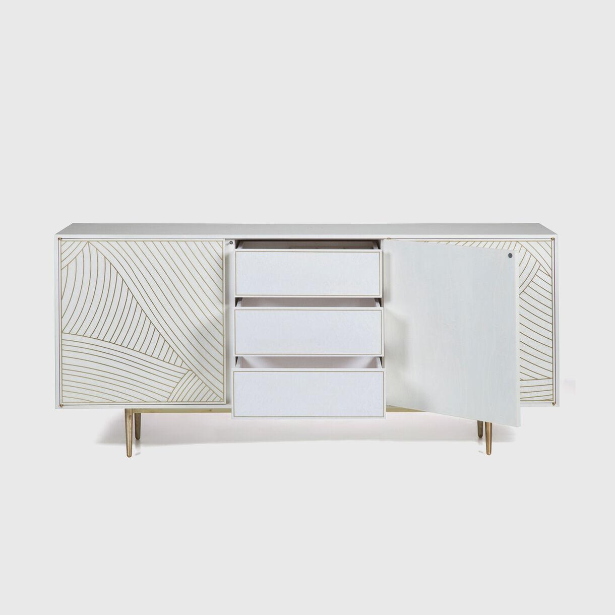 3-Door Dhow Cabinet in White