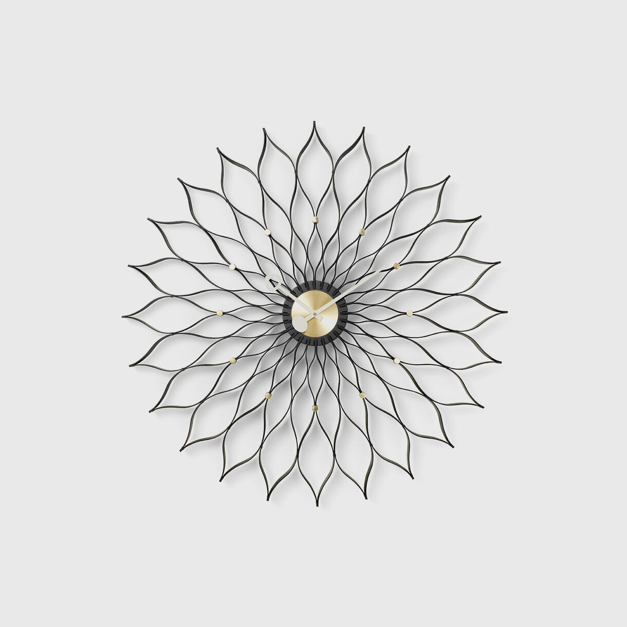 Sunflower Wall Clock, Black