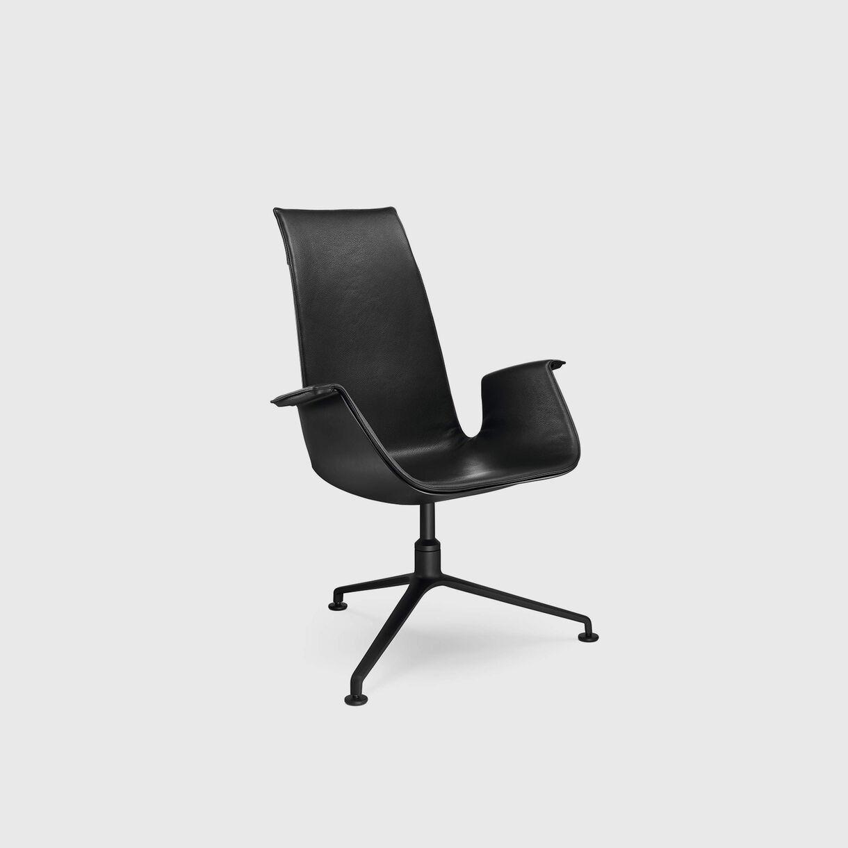 FK Bucket Chair, Highback, Black Leather