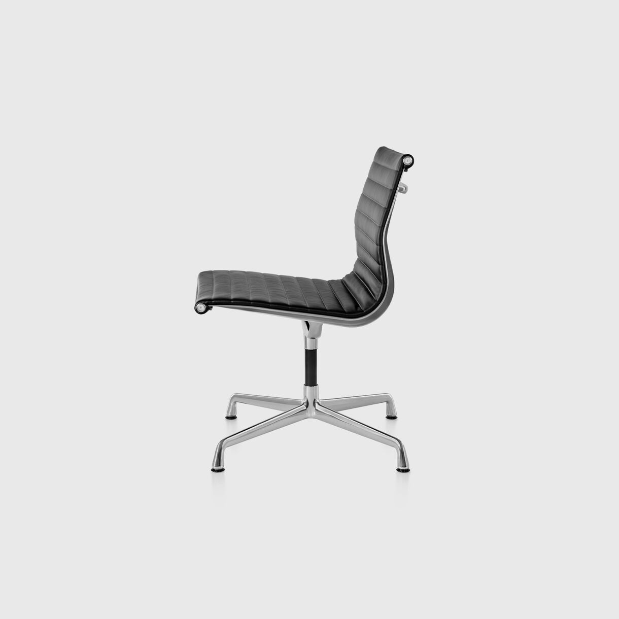 Eames Aluminium Group Side Chair, No Arms, Black & Polished Aluminium