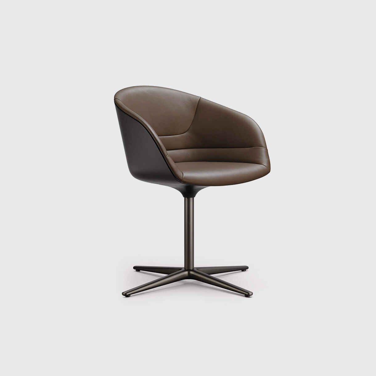 Kyo Chair, Brown Leather & Bronze Base
