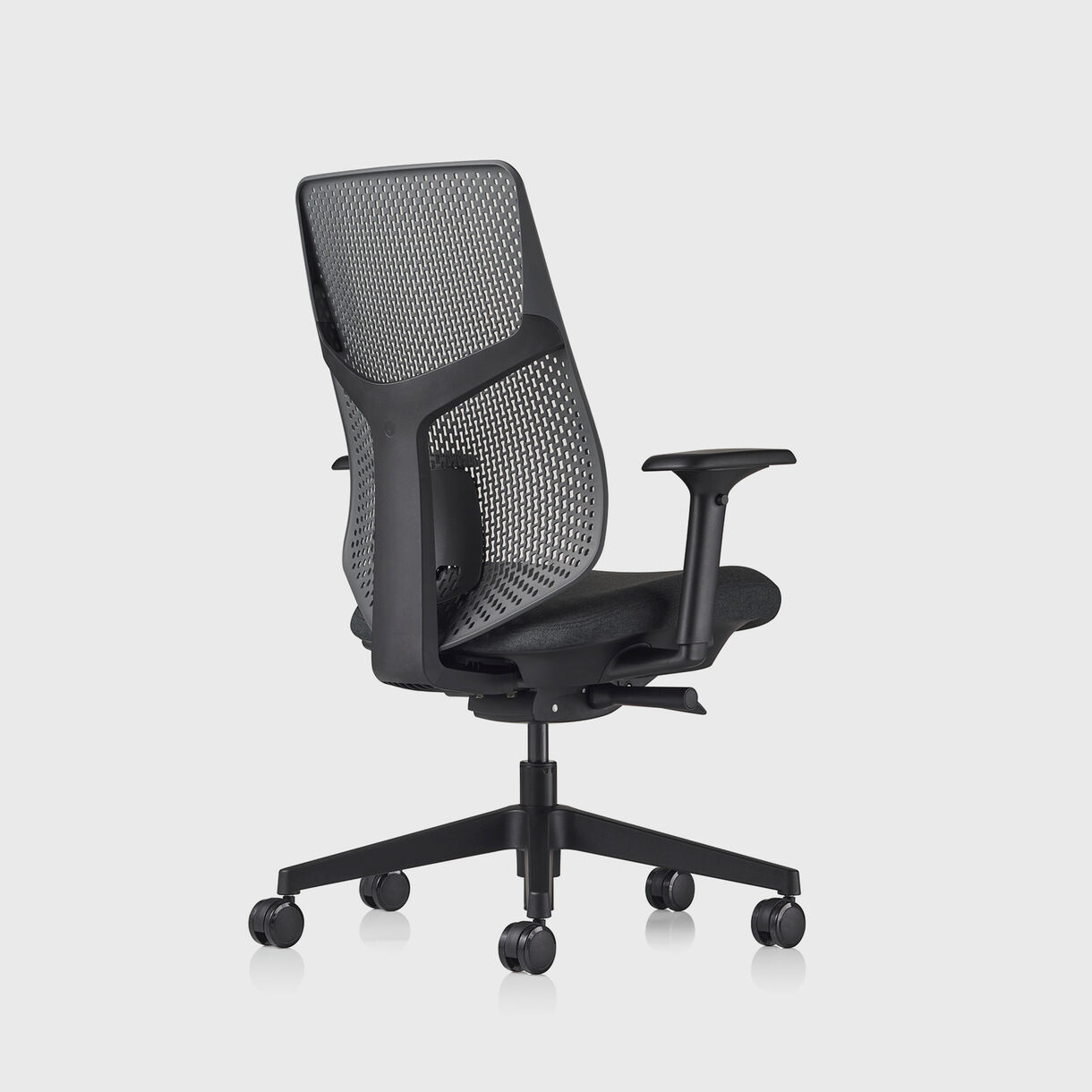 Verus TriFlex Back Task Chair - Black Frame, Dark Carbon TriFlex & Cinder Upholstery - Fully Adjustable Arms