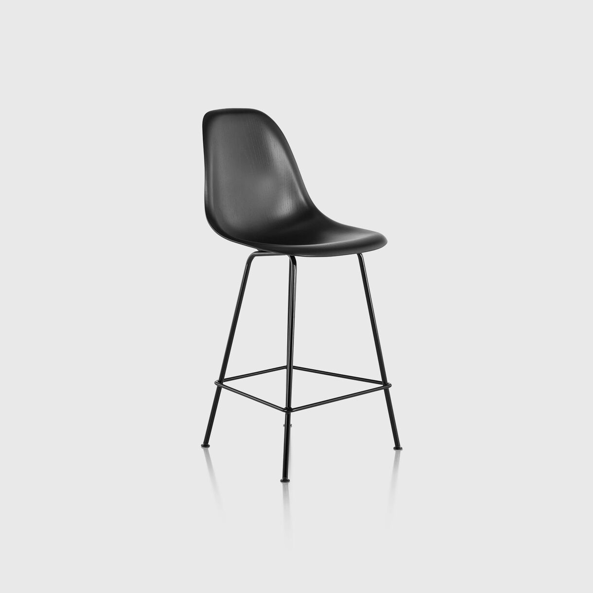 Eames Moulded Wood Counter Stool, Ebony & Black