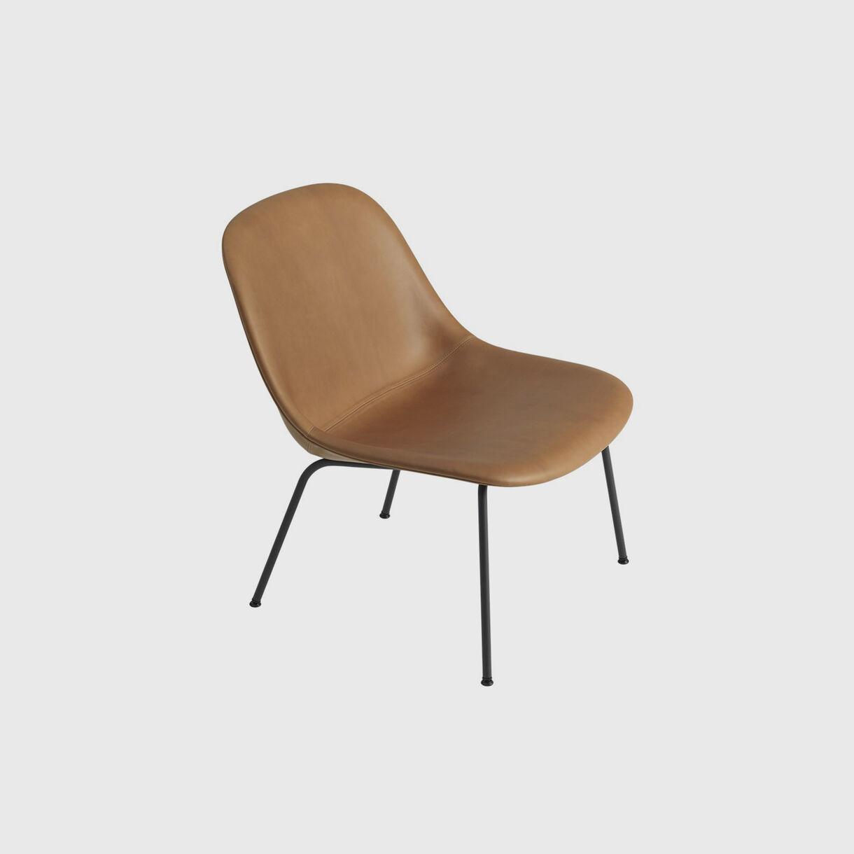 Fiber Lounge Chair Tube Base, Upholstered, Cognac Leather