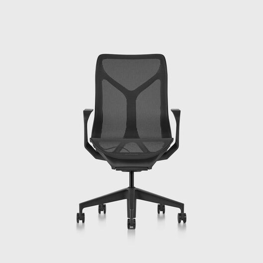 Cosm Chair, Graphite, Mid Back, Fixed Arms