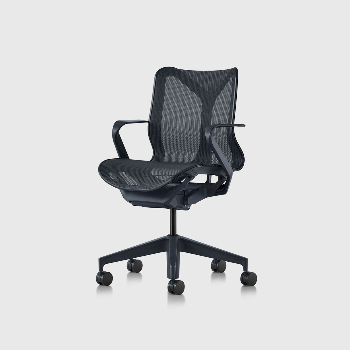 Cosm Work Chair, Low Back, Fixed Arms, Carbon