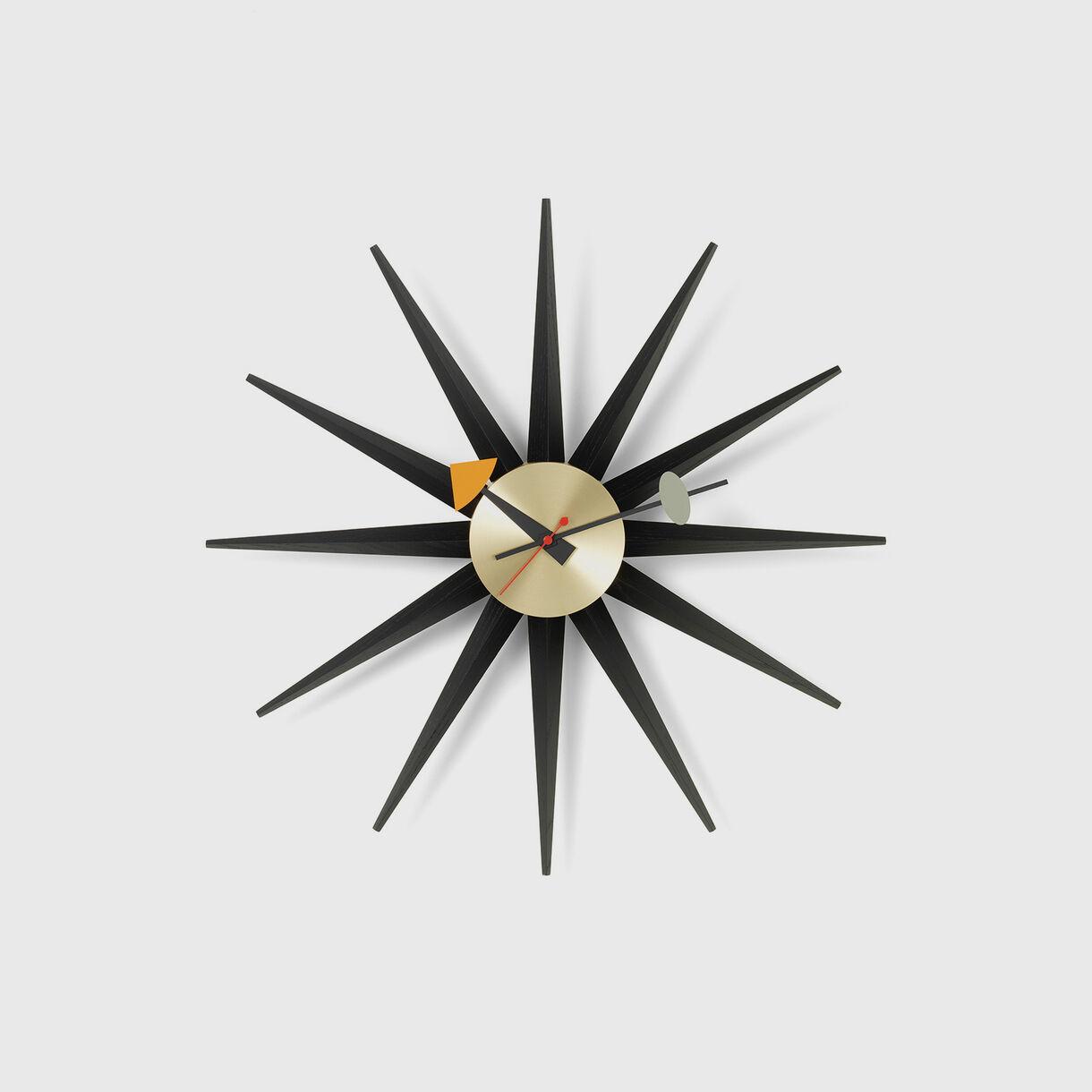 Sunburst Wall Clock, Black