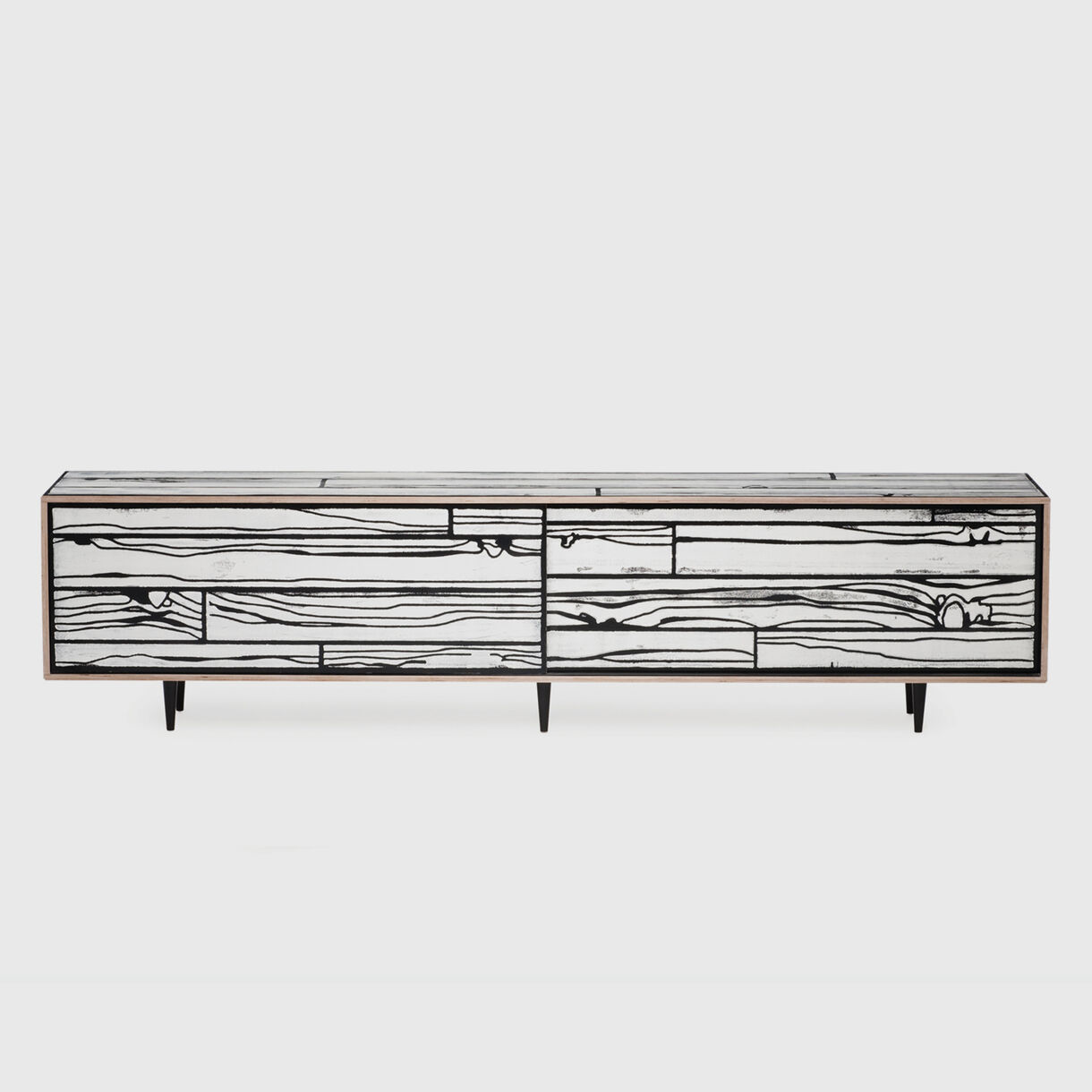 Wrongwoods Low Long Cabinet, Black & White