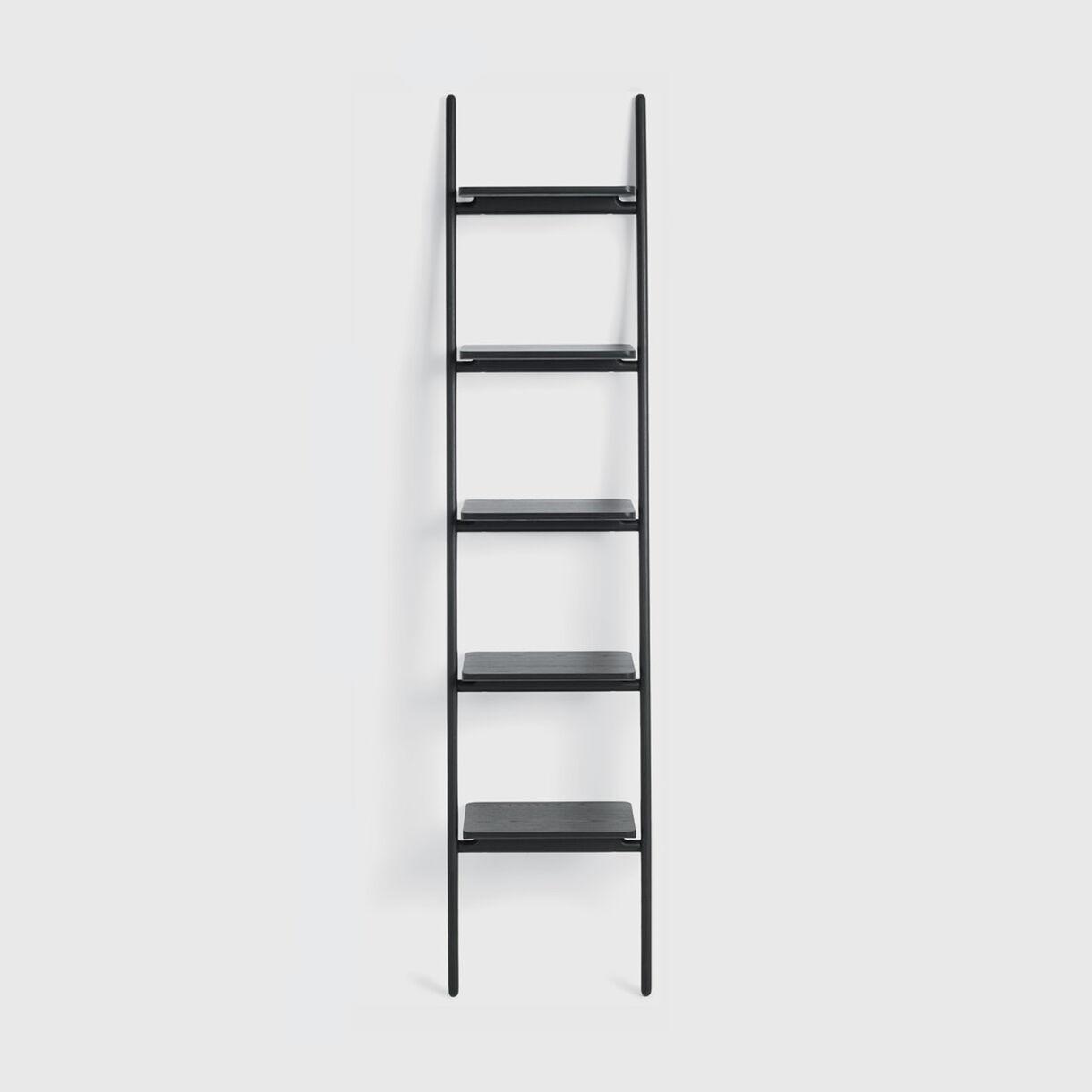Folk Ladder Shelving, Narrow, Ebonised Ash