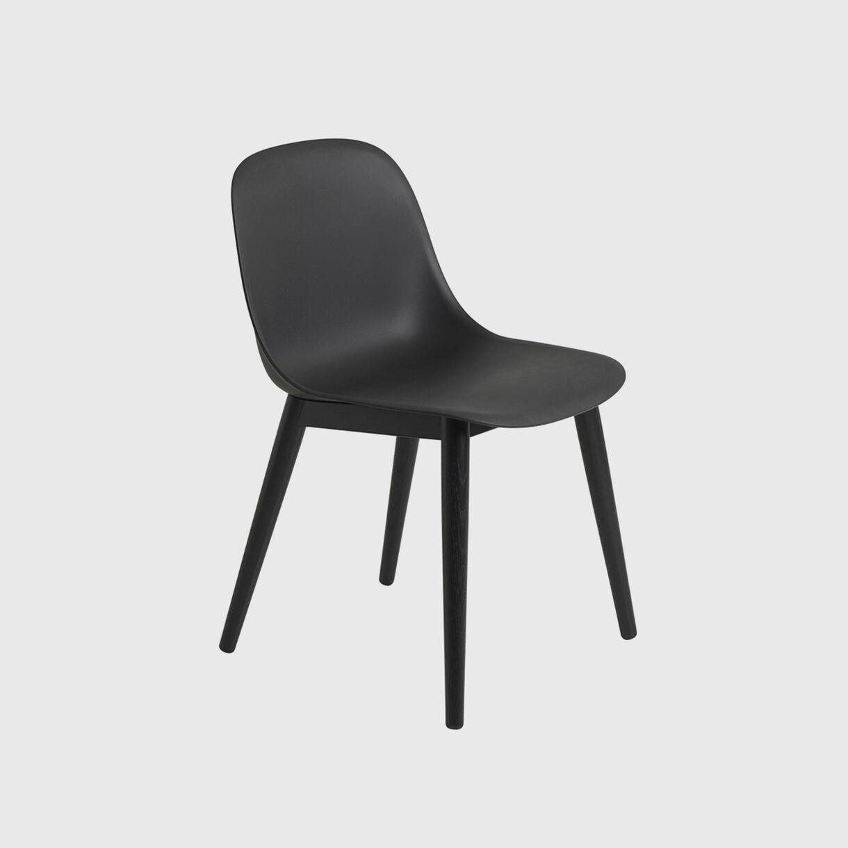 Fiber Side Chair Wood Base, Black