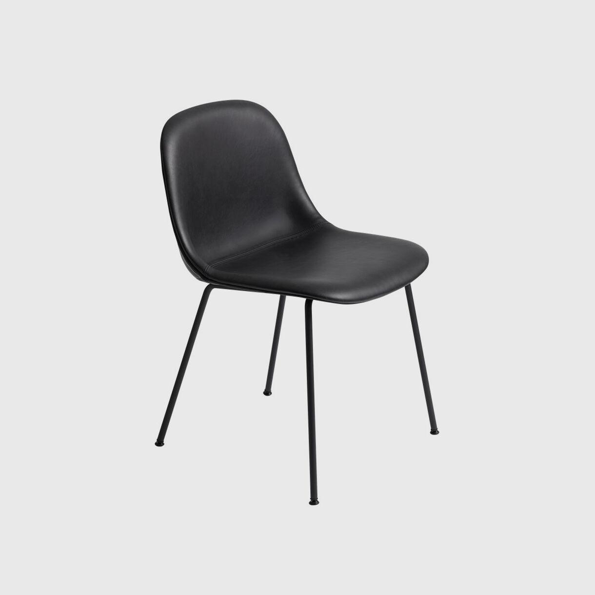 Fiber Side Chair Tube Base, Upholstered, Black Leather