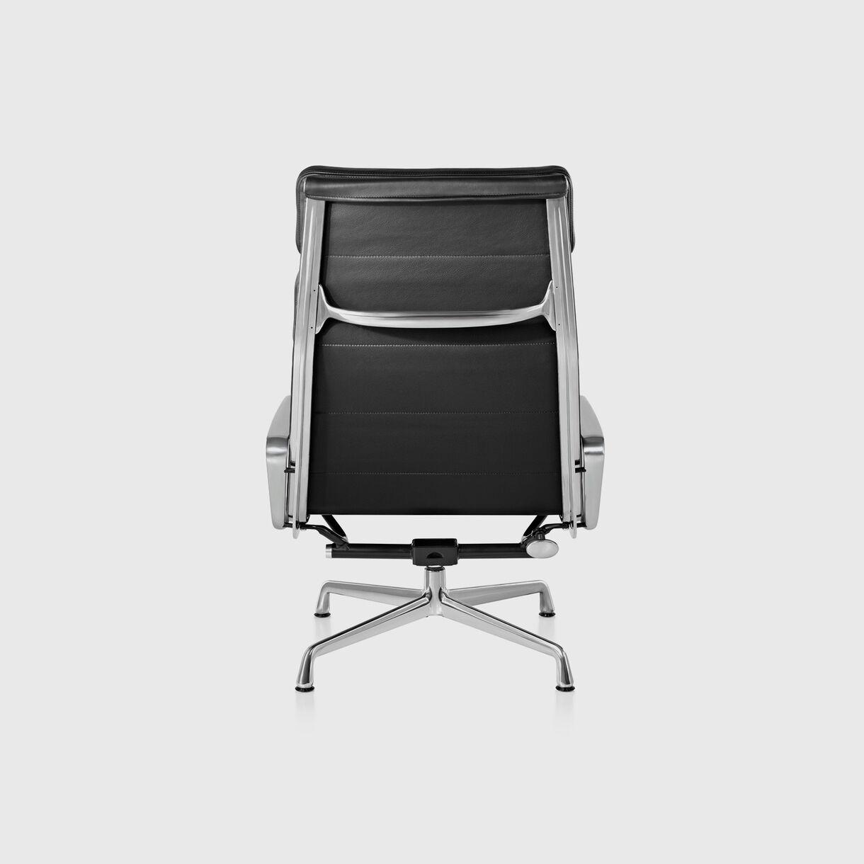 Eames Soft Pad Lounge Chair, 4 Cushions, Black Leather & Polished Aluminium