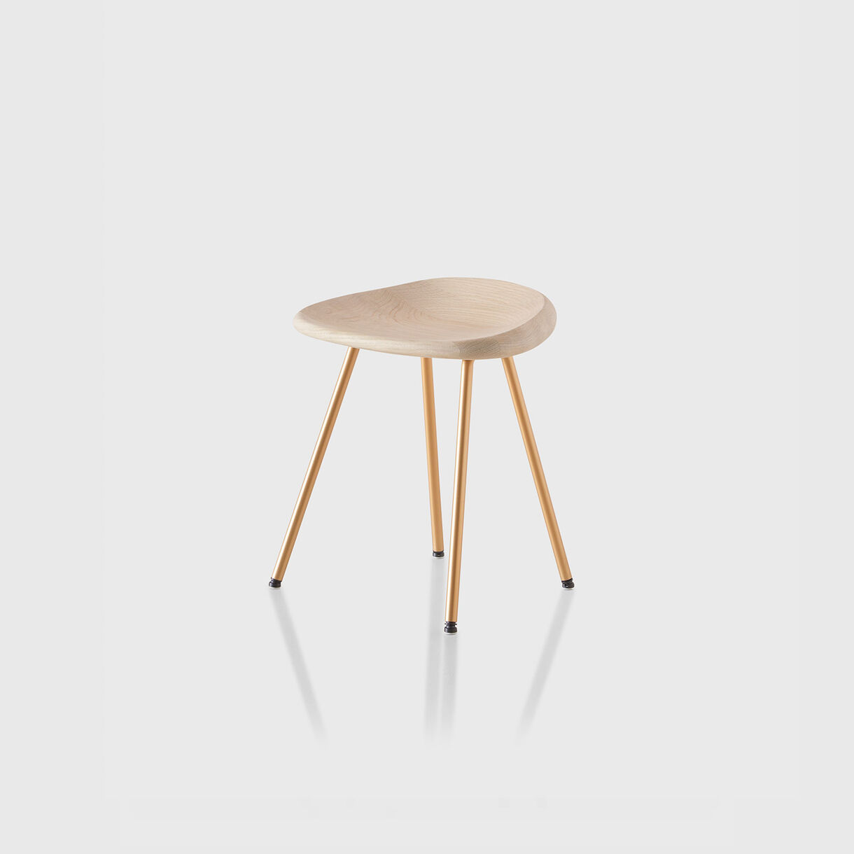 Pebble Stool, White Oak & Brass Base