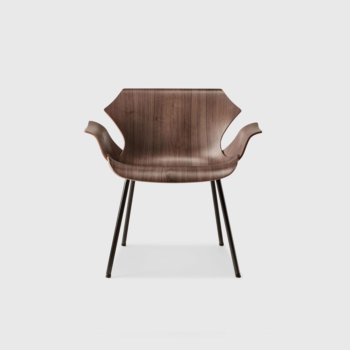 Petal Metal Base Lounge Armchair, Walnut