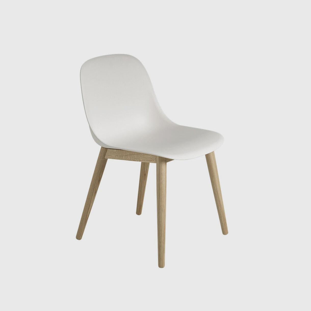 Fiber Side Chair Wood Base, White & Oak