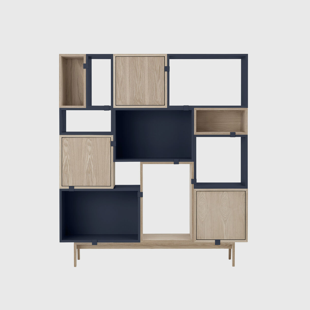 Stacked Storage System 2.0 - Solution 6, Midnight Blue & Oak
