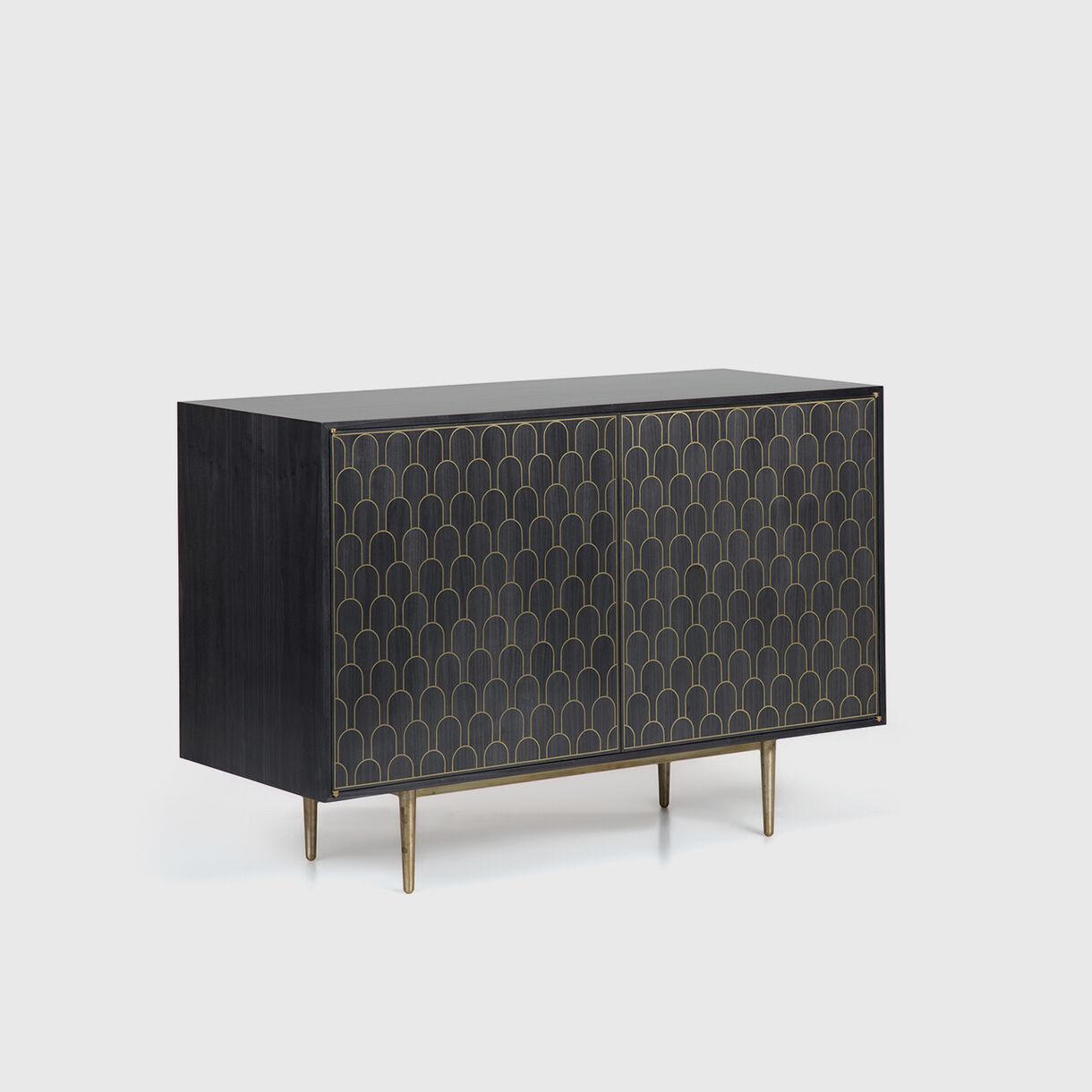 Nizwa 2-Door Cabinet, Charcoal & Brass