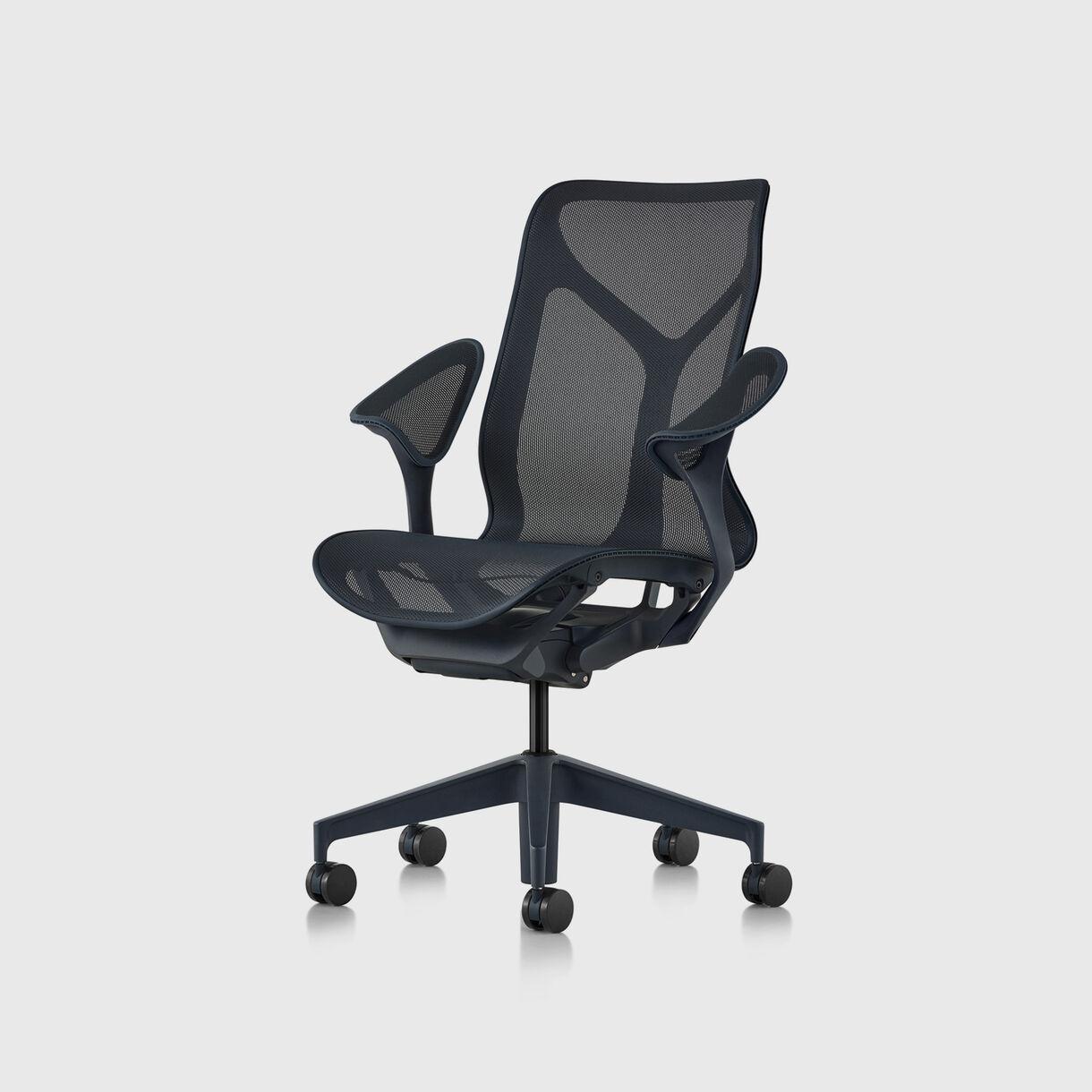 Cosm Work Chair, Mid Back, Leaf Arms, Nightfall