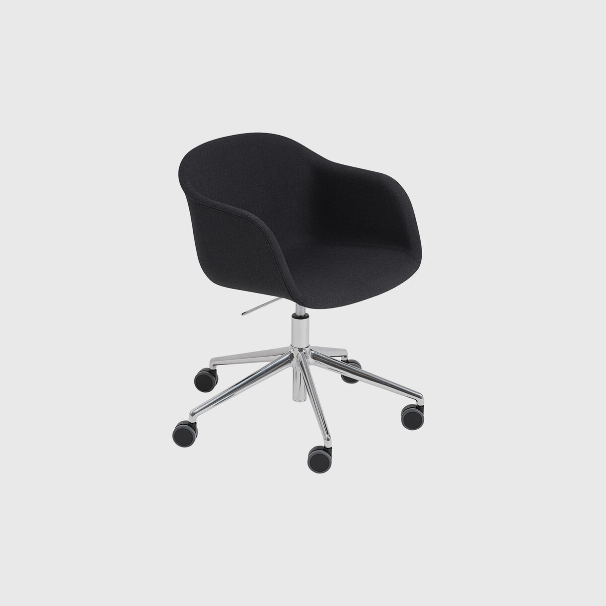 Fiber Armchair Upholstered, Remix 183 & Chrome, Swivel Base with Castors & Gas Lift, Grey