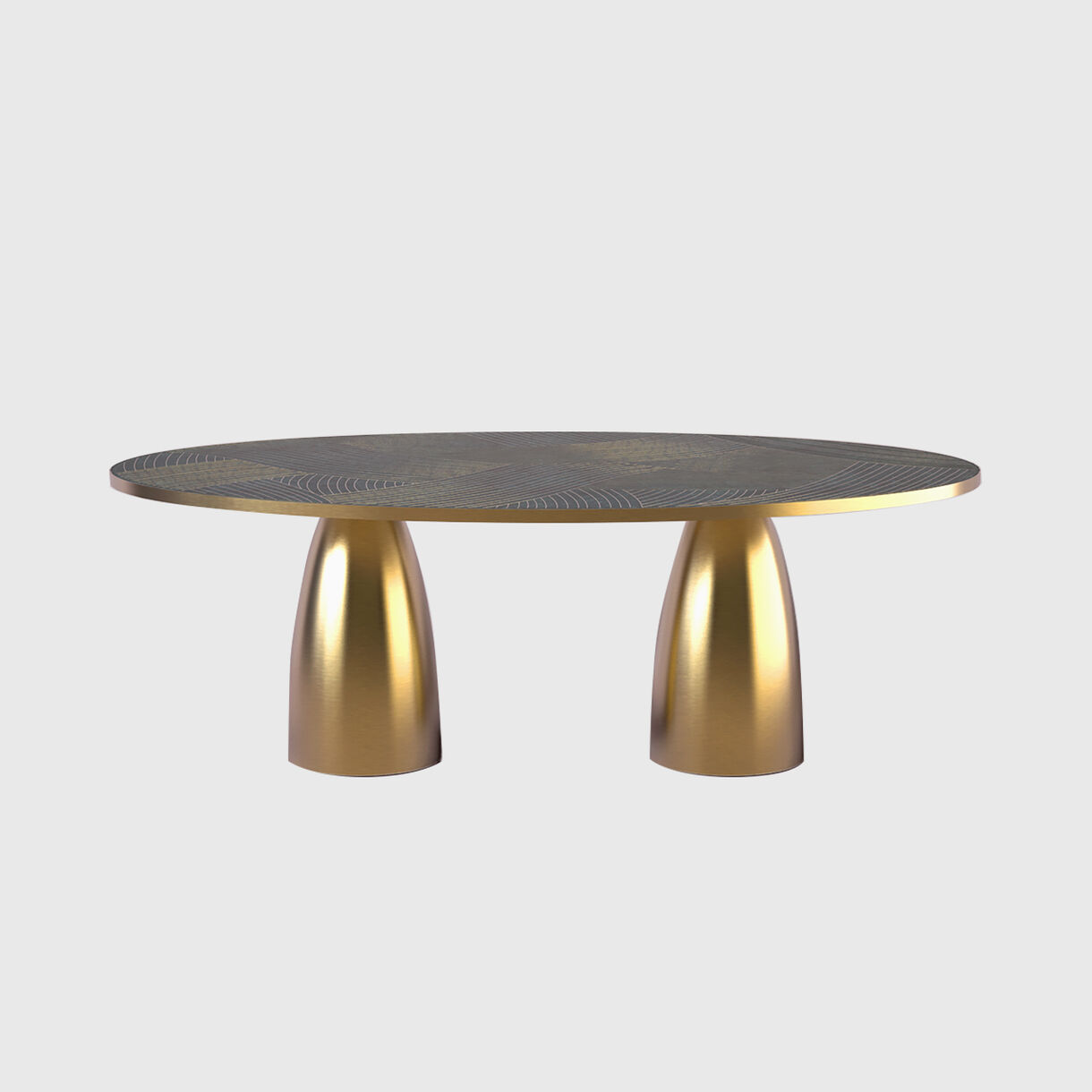 Lustre Oval Dining Table, Nero Marble with Dhow Inlay