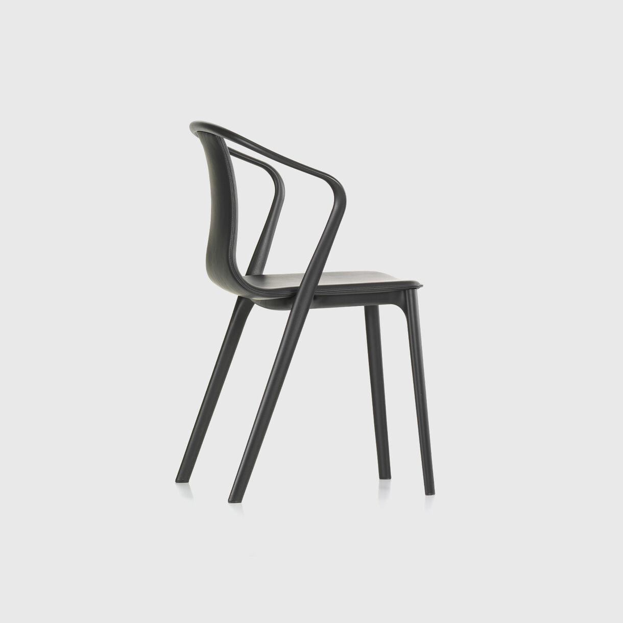 Belleville Armchair, Black Leather Upholstered