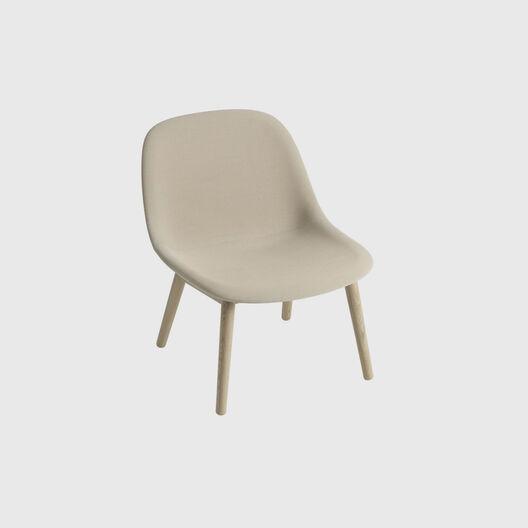 Fiber Lounge Chair, Wood Base, Upholstered