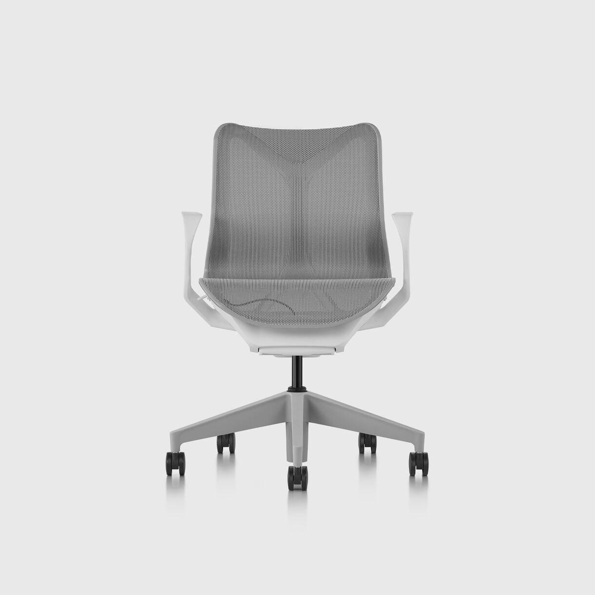 Cosm Work Chair, Low Back, Fixed Arms, White