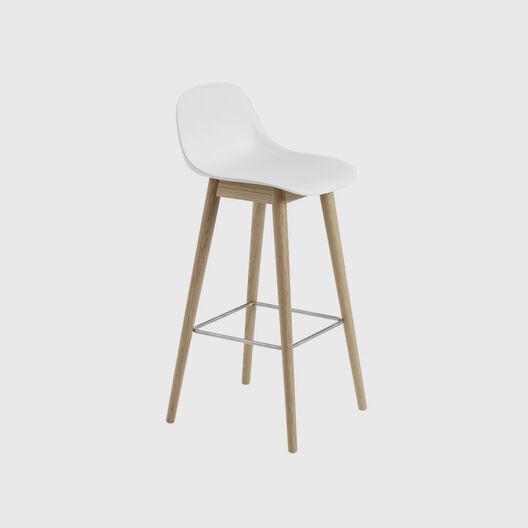 Fiber Stool with Backrest, Wood Base