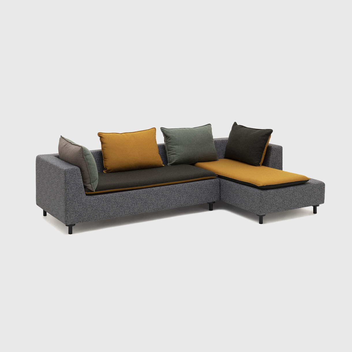 Barbican Corner Sofa, Ochre & Dark Green