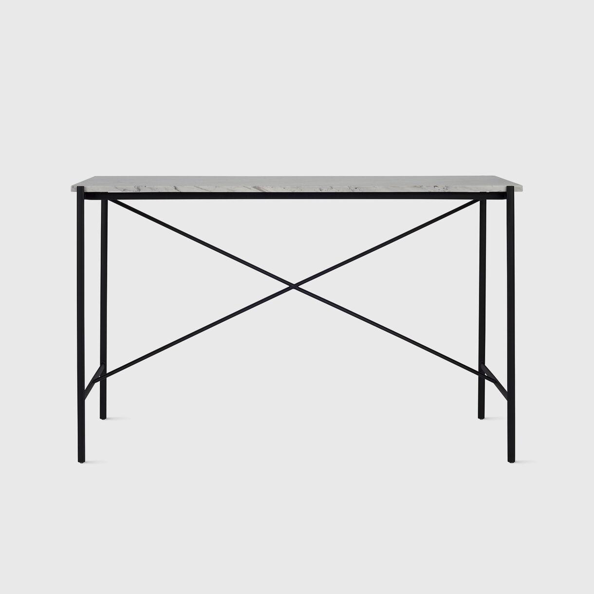 Sylvian Outline Console Table, Carrara Marble & Black