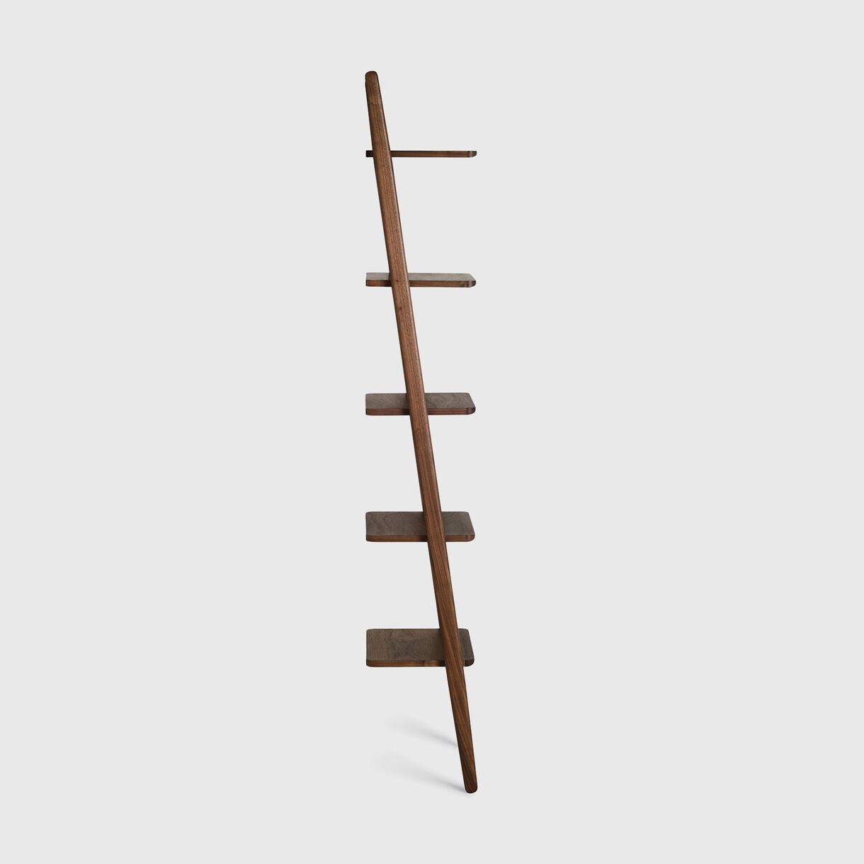 Folk Narrow Ladder Shelving, Walnut
