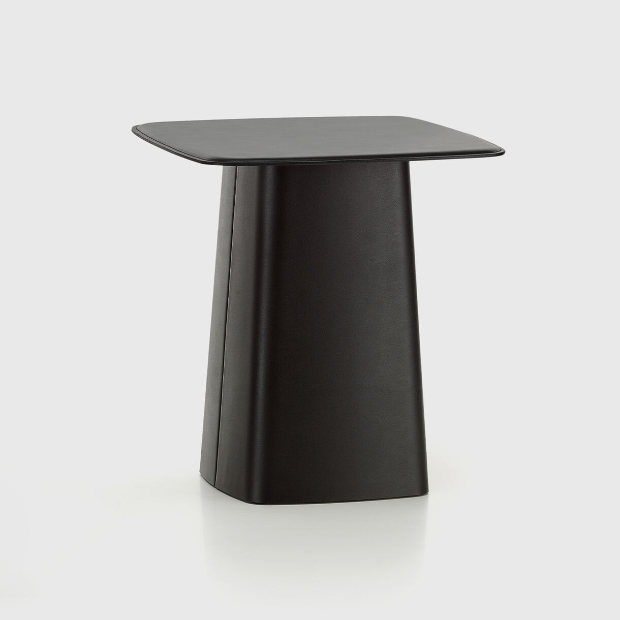Leather Side Table, Large, Black Leather