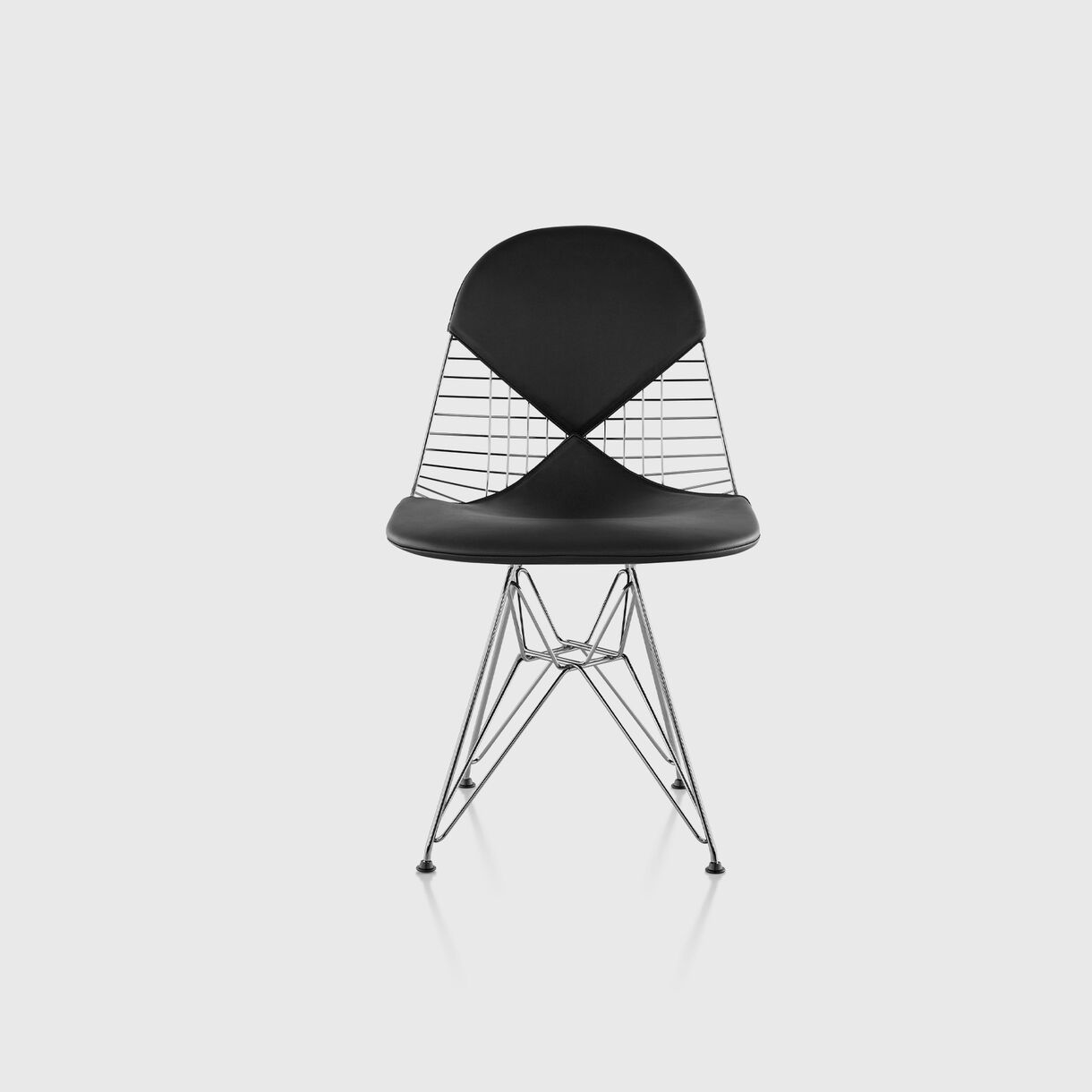 Eames Wire Base Chair, Bikini Pad, Black Leather