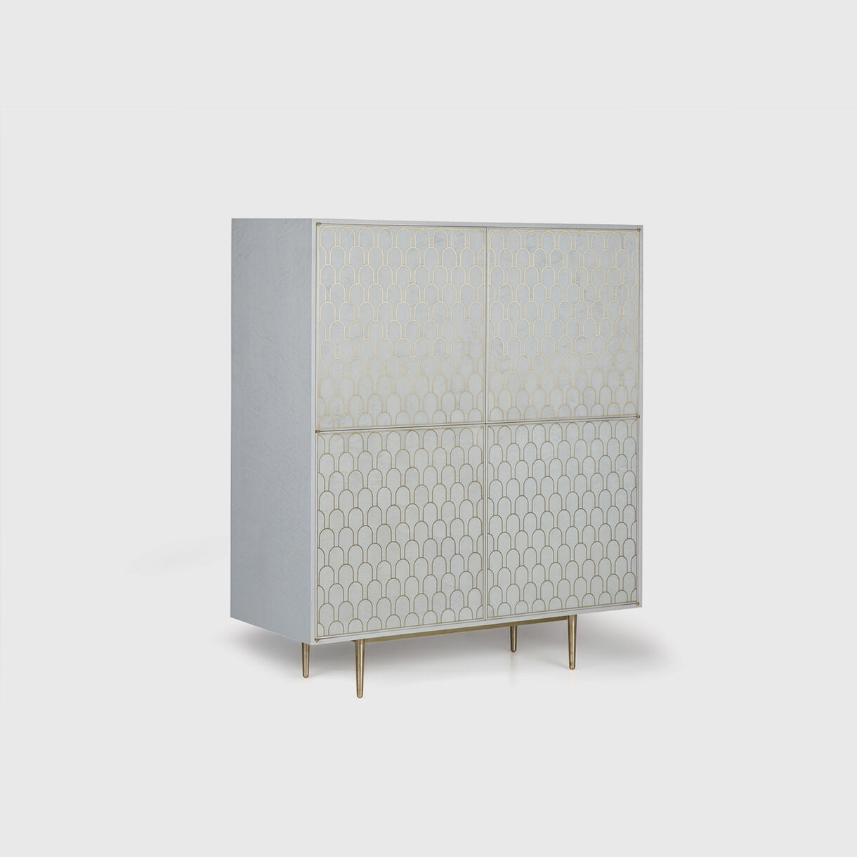 Nizwa 2 by 2-Door Cabinet, White & Brass